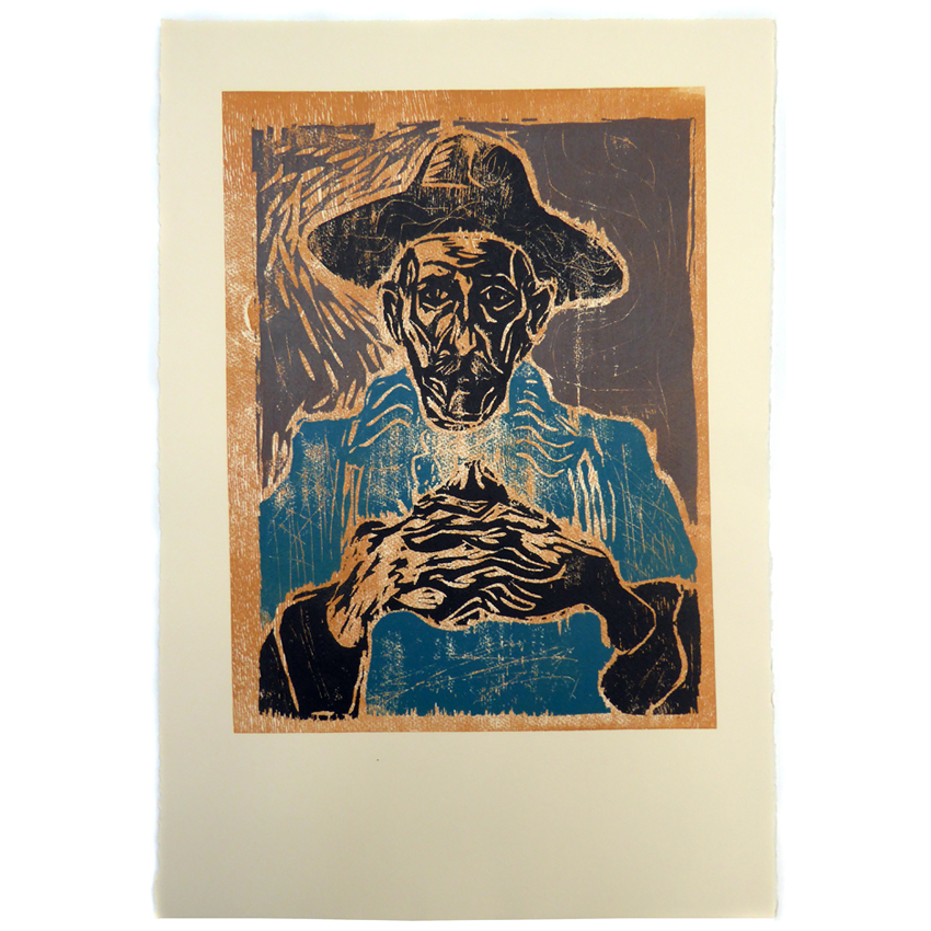 Billy Childish Self-portrait in Hat woodcut