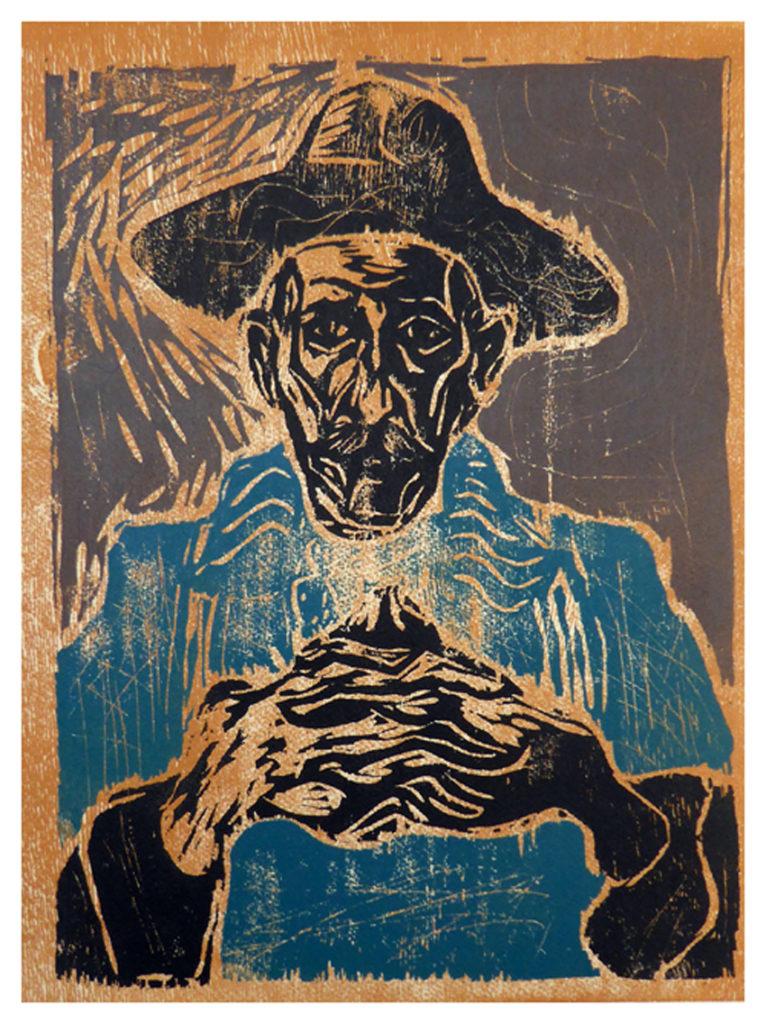 Billy Childish woodcut Self_portrait_in_Hat_detail