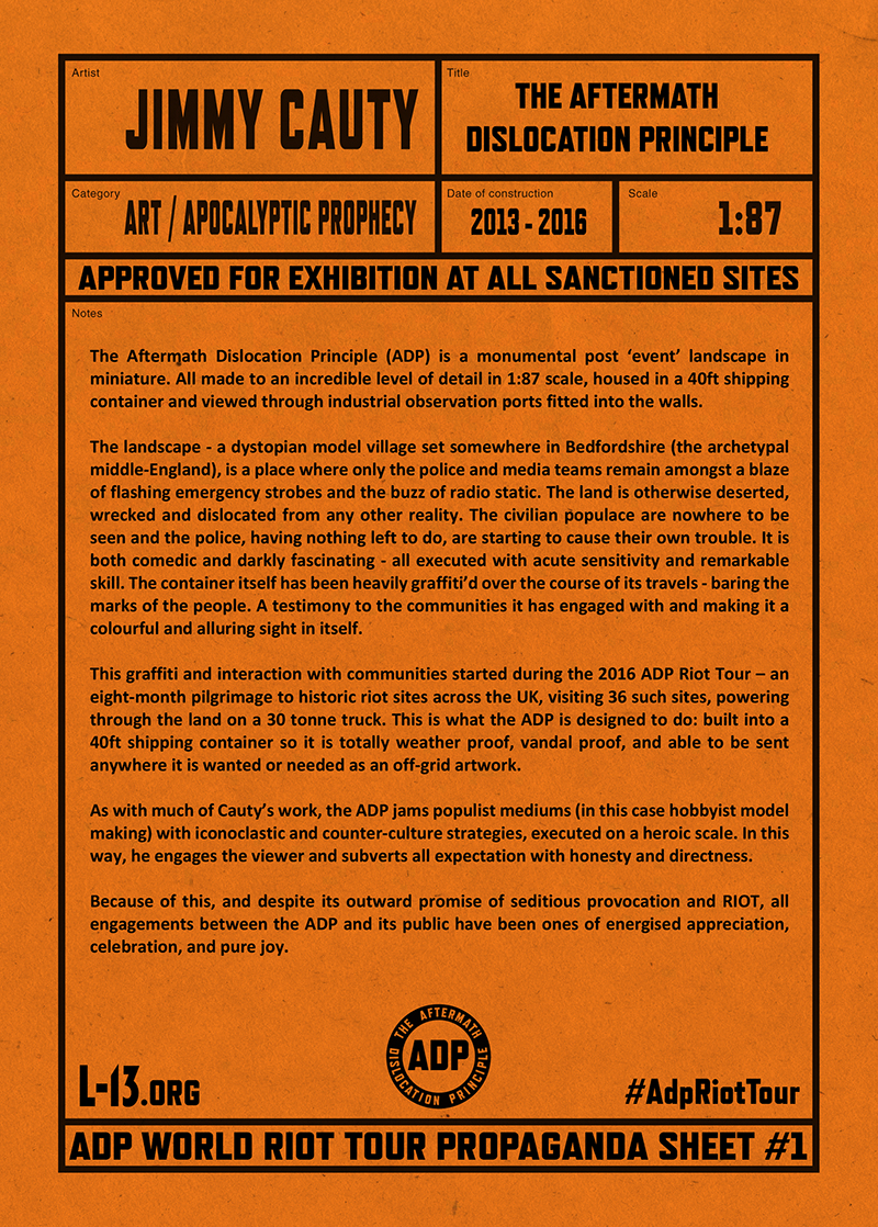 Jimmy Cauty ADP World Tour propaganda sheet one