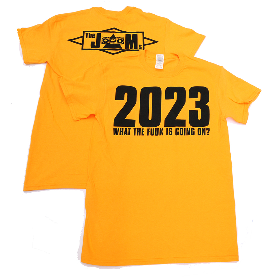 The JAMs 2023 T-shirt yellow front and back lo res