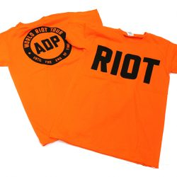 Jimmy Cauty ADP World Riot Tour adult riot orange front and back 72dpi