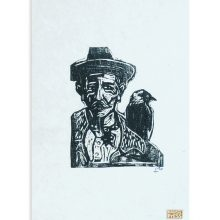 Billy Childish Man With Jackdaw Mangled woodcut for web art car boot fair