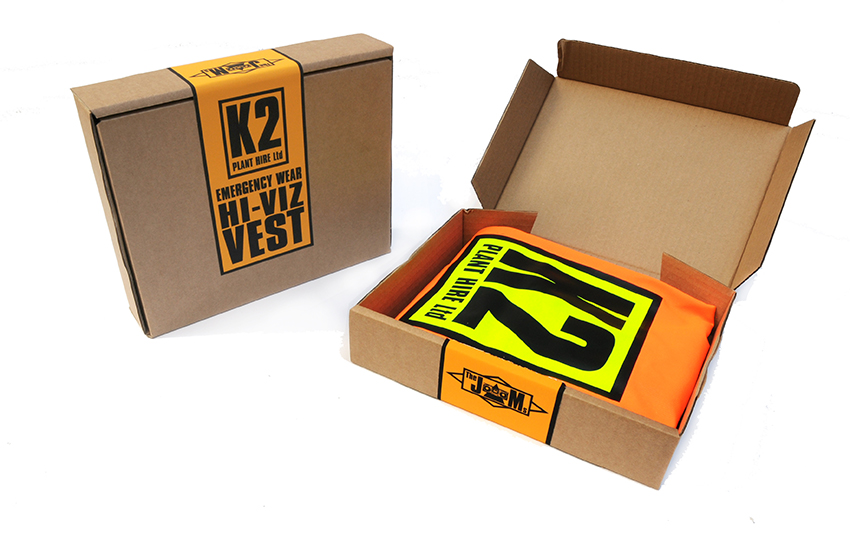 The JAMs K2 Plant Hire hi viz packaging open and closed