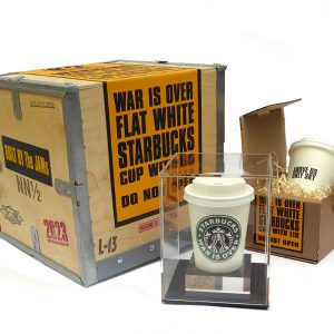 The JAMs 2023 War Is Over starbucks cup with plinth and box
