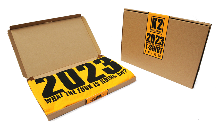 The JAMs 2023 yellow t packaging open and closed
