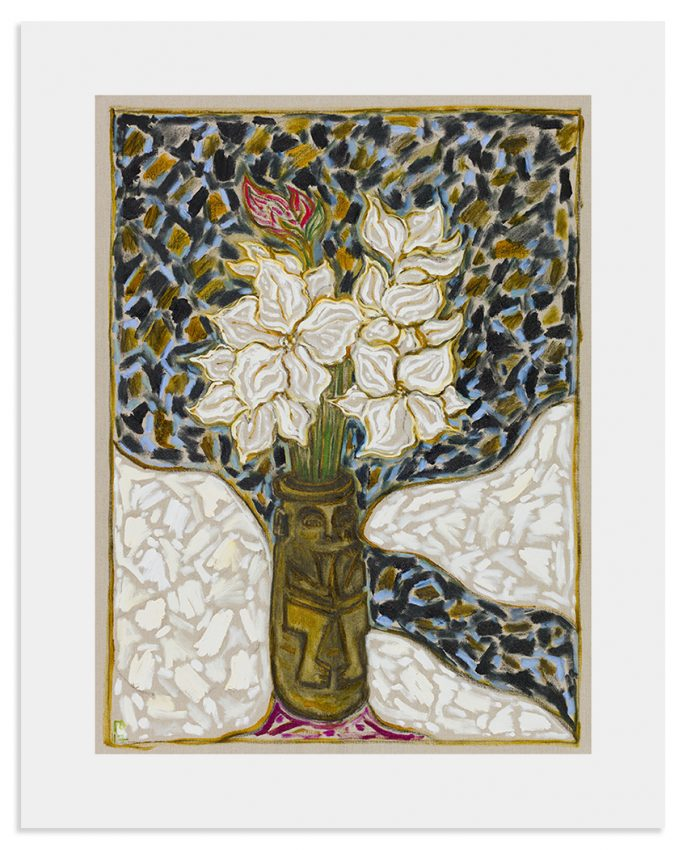 12BillyChildish-painting-flowers in mouth puller pot