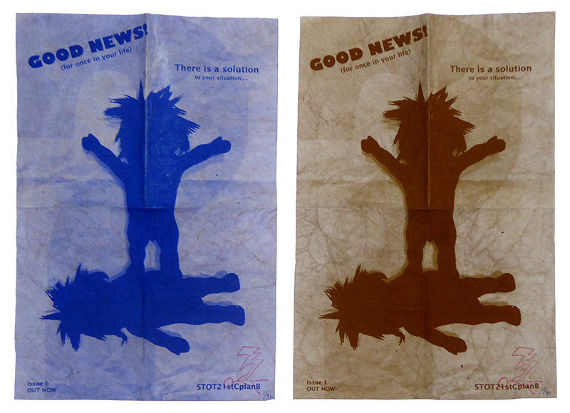 STOT21stCplanB_Good_News_lue_and_brown_handbills