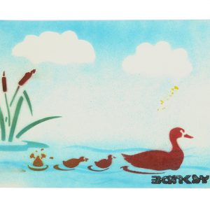 Not Banksy duck and ducklings stencil flat