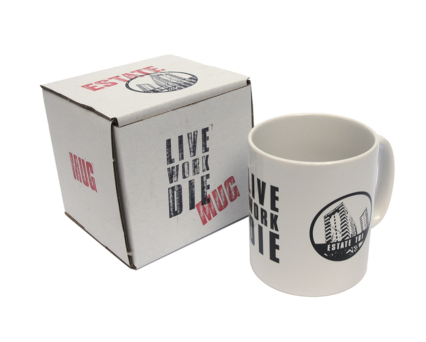 Jimmy Cauty ESTATE Live Work Die Mug and packaging