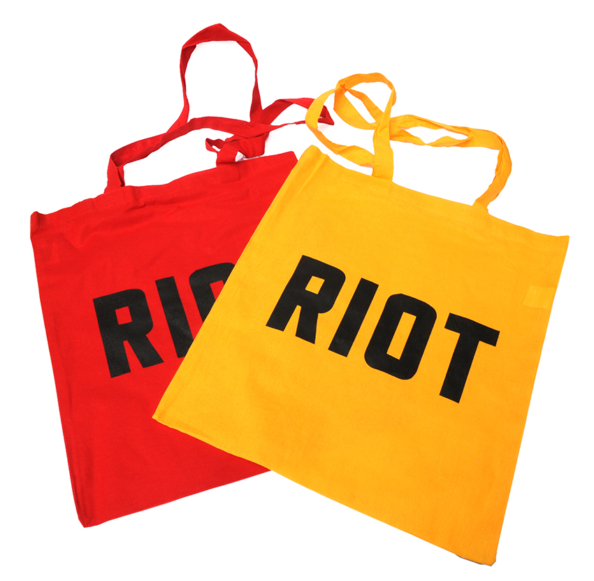 Jimmy Cauty ADP RIOT tote bags