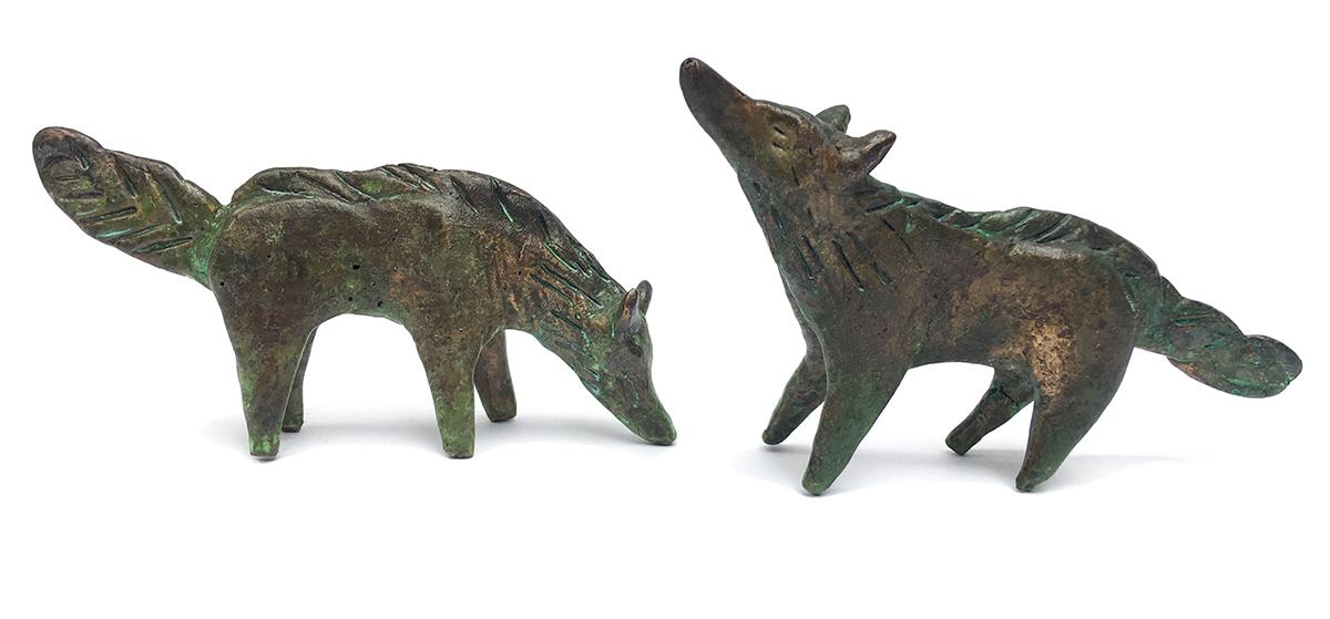 Billy Childish bronze wolves together